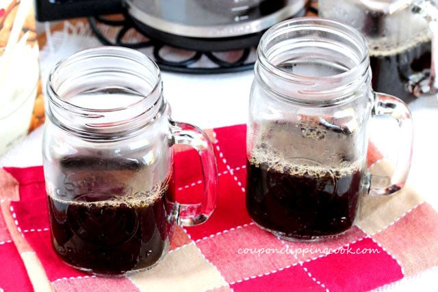 Coffee in glass mugs