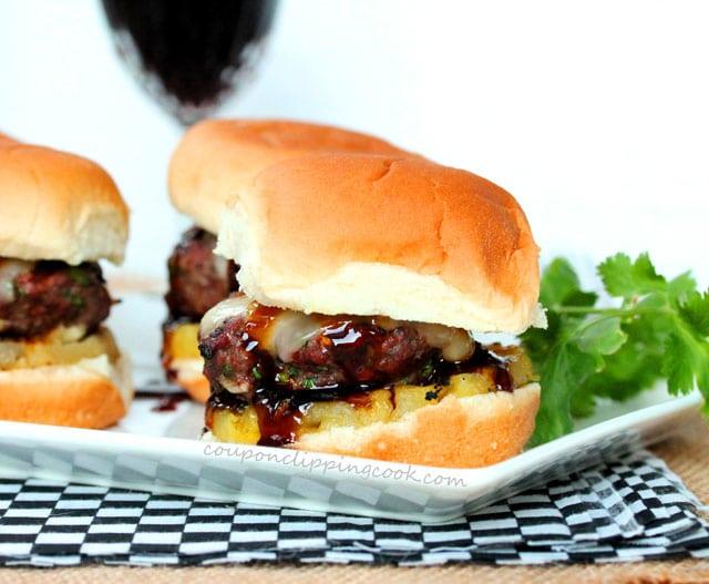 Grilled Teriyaki Burger Sliders on plate