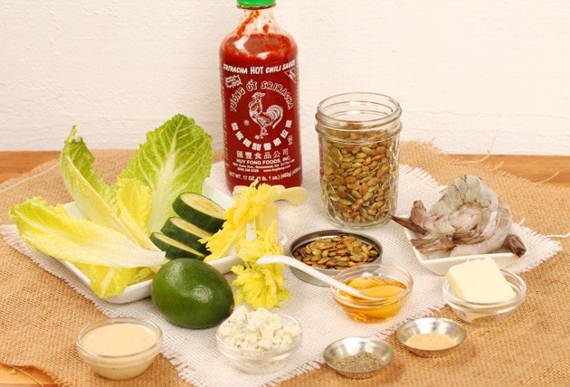 Sriracha Honey Shrimp Salad ingredients
