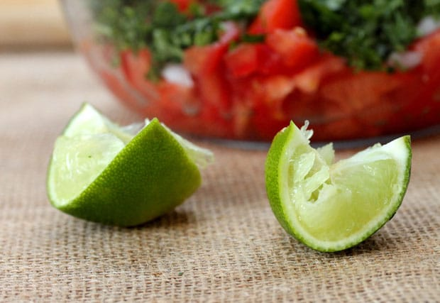 Squeezed lime quarters