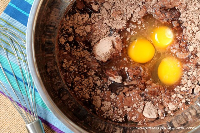 Eggs and cake mix in bowl