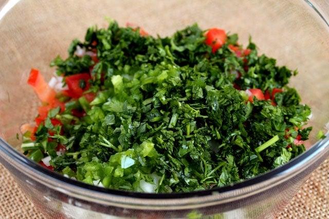 Pico de gallo ingredients in bowl