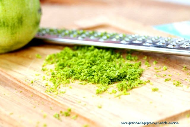 Lime zest on cutting board