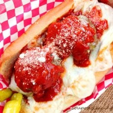 Meatball Sandwich with Melted Cheese