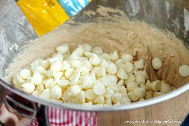 Add white chocolate chips to bowl