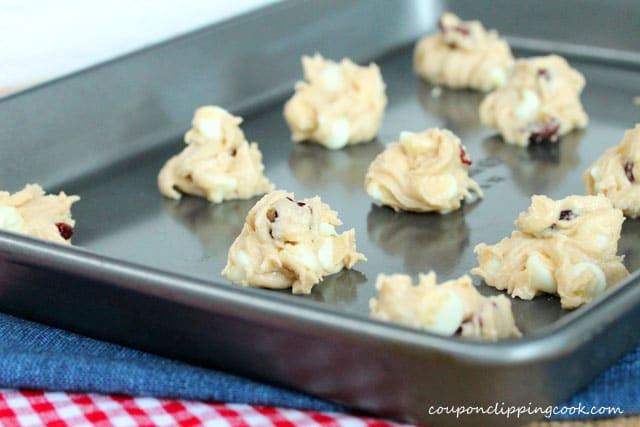 Cookie dough balls on sheet pan