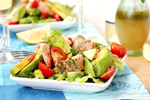 Baked Salmon Avocado Salad