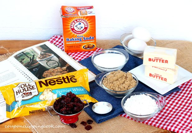 White Chocolate Chip and Cherry Cookie ingredients