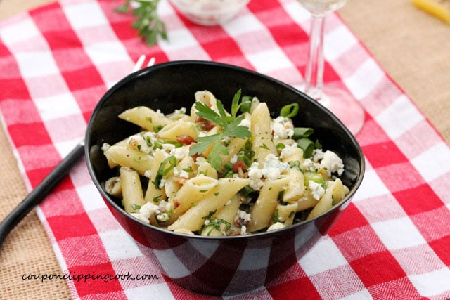 Mostaccioli Pasta with Blue Cheese in bowl