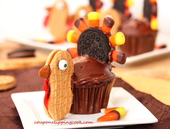 Thanksgiving Turkey Cupcake on Plate