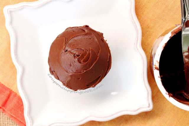 Frosted Chocolate Cupcake on plate