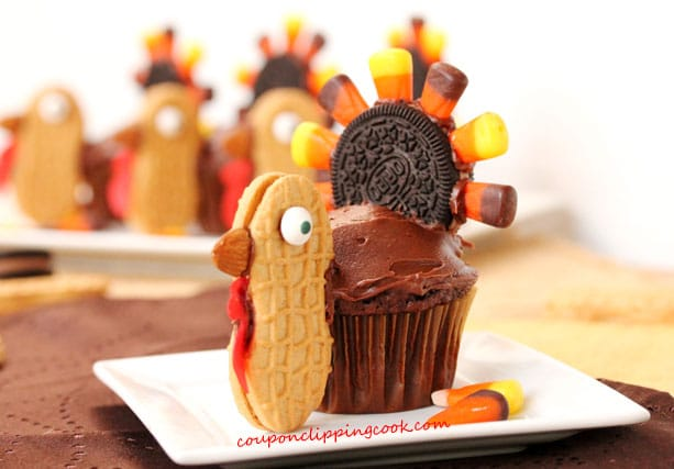 Thanksgiving Turkey Chocolate Cupcakes on plate