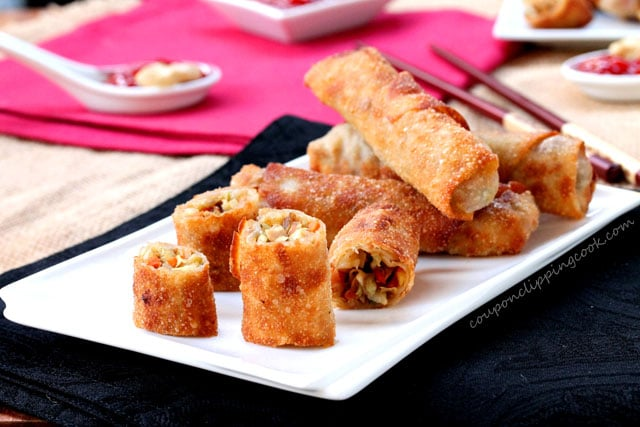 Cut Turkey Egg Rolls on plate