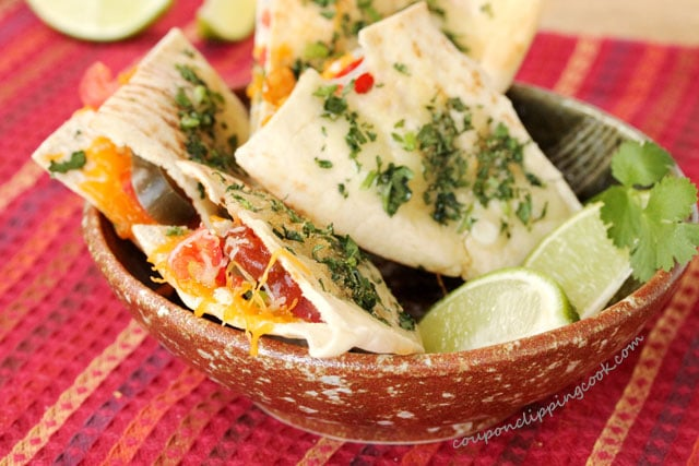 Cheesy Pita Quesadillas with Nacho Jalapenos in bowl
