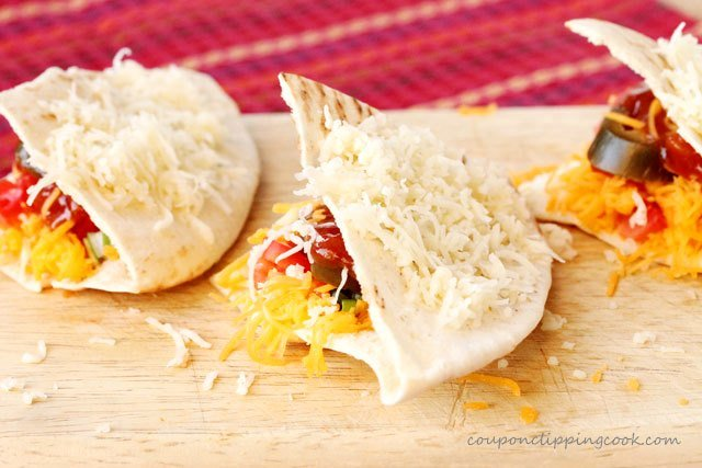 Cheesy Pita Quesadillas with Nacho Jalapenos on board