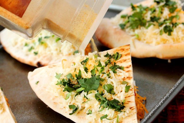 Add granulated garlic on pita quesadillas