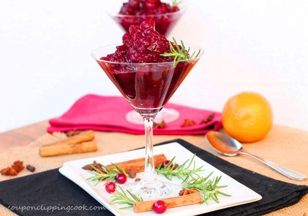 Orange Spice Cranberry Sauce in Martini Glass