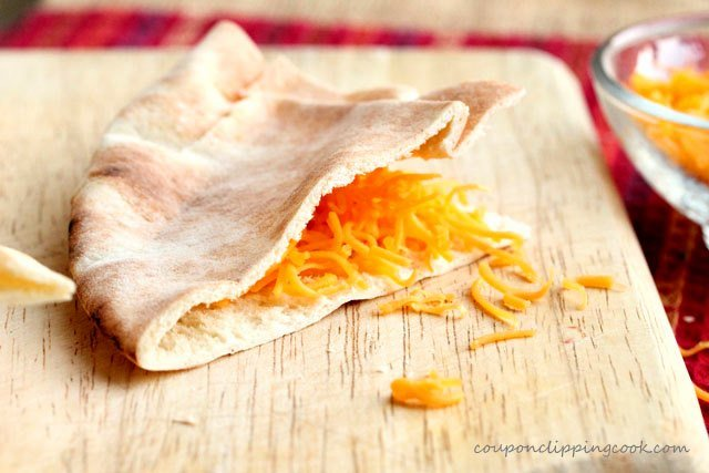 Pita pocket bread quarter with cheese