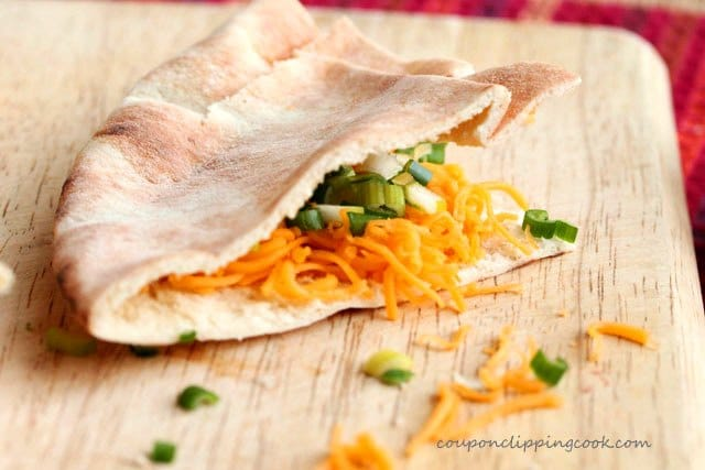 Pita pocket bread filled with cheese