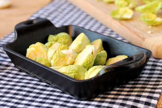Brussels sprouts in baking dish