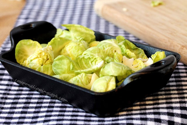 Brussels sprouts with leaves in dish