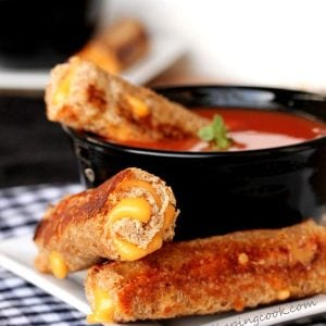 Grilled Cheese Roll Ups in Soup