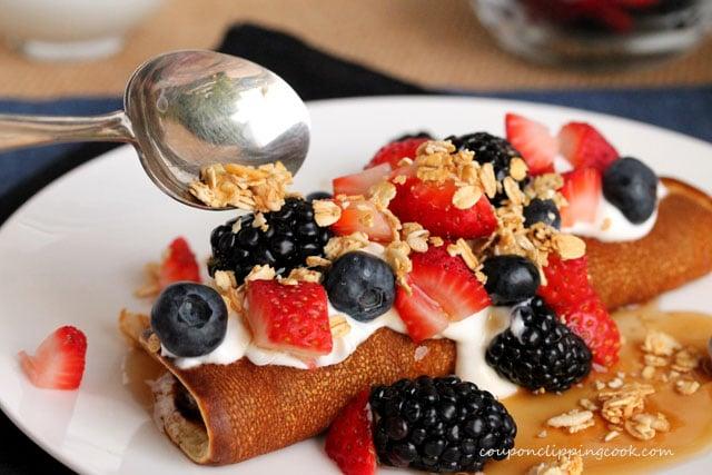 Add granola to pancake rolls
