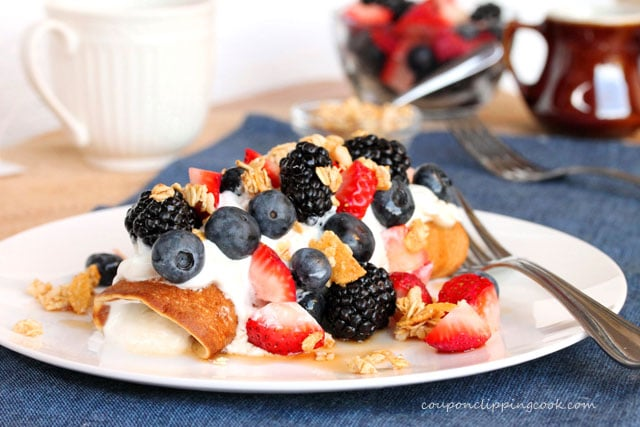 Yogurt Filled Pancake Rolls with Berries, Maple and Granola