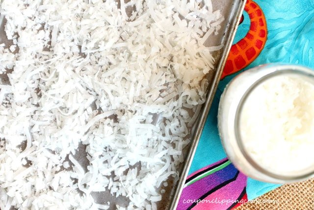 Shredded coconut in sheet pan