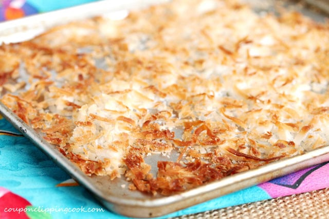 Toasted shredded coconut in sheet pan