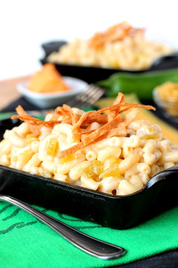 Macaroni and Cheese with Green Chiles in Iron Dish
