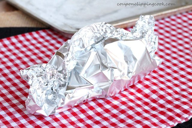 Make foil tent with garlic inside