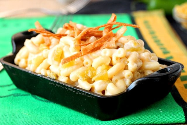 Green Chili Macaroni and Cheese in pan