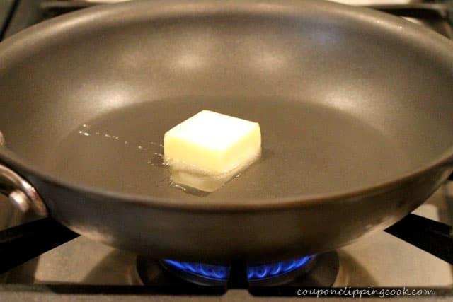 Melt butter in skillet on stove top