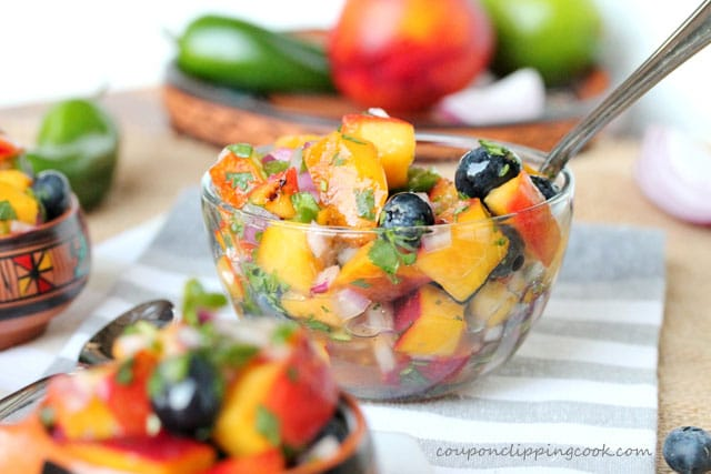 Grilled Nectarine and Blueberry Salsa in bowl