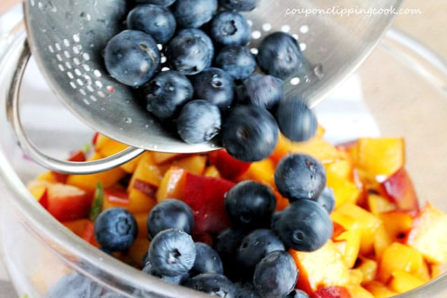 Add blueberries to bowl