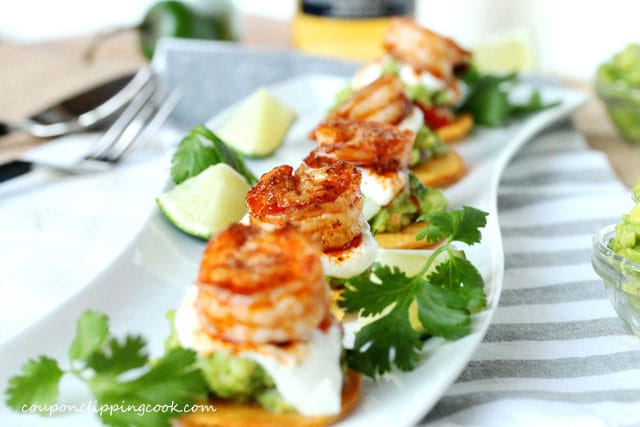 Mini Tostadas with Shrimp and Guacamole on plate
