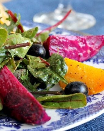 Roasted Beet Salad with Blueberries & Dijon Mustard Dressing