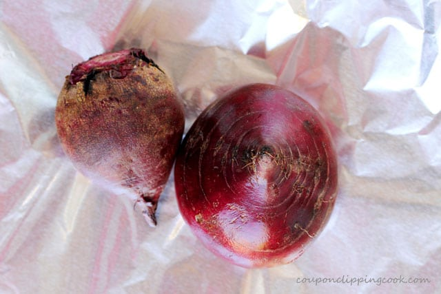 Red beets on foil