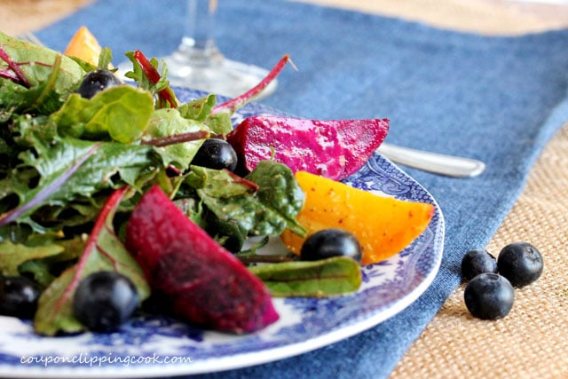 Roasted Beets and Blueberry Salad on plate
