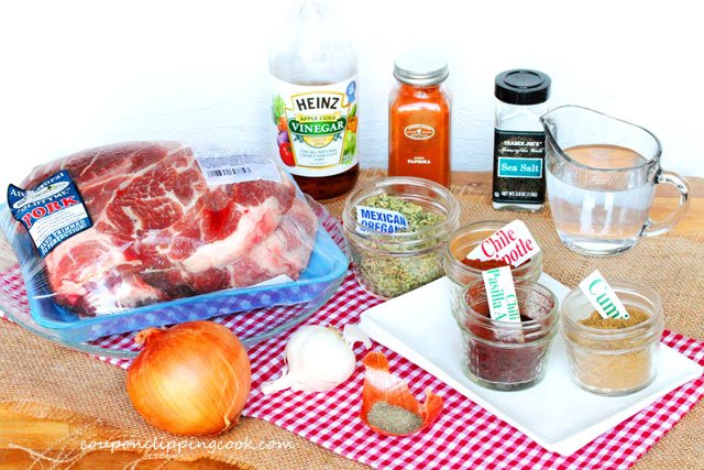 Slow Cooker Pulled Pork ingredients