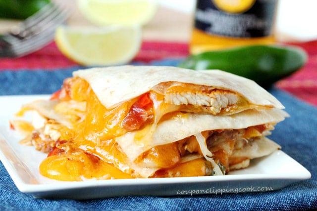 Cheesy Chicken Fajita Quesadillas on plate