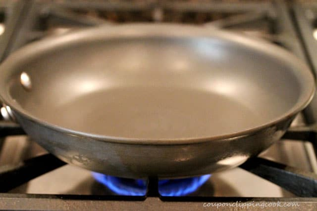 Skillet over heat on stove top