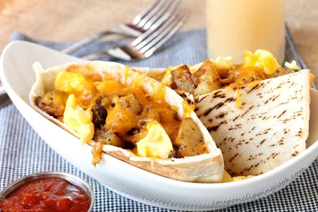 Breakfast Burrito Pitas in dish
