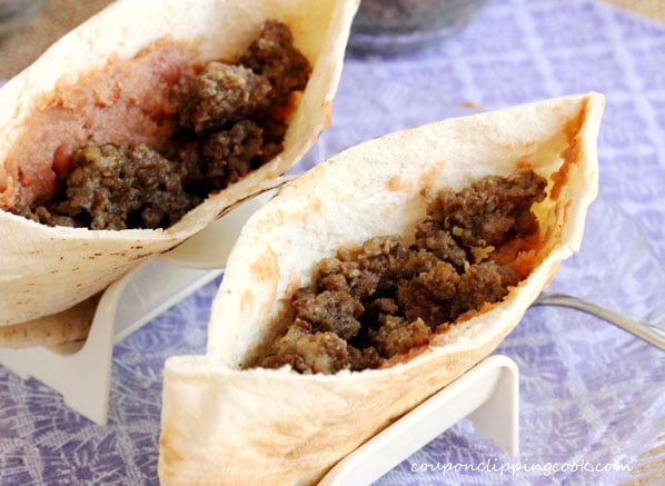 Sage sausage in pita pocket bread