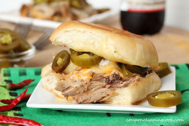 Slow Cooker Pulled Pork Sandwich on plate