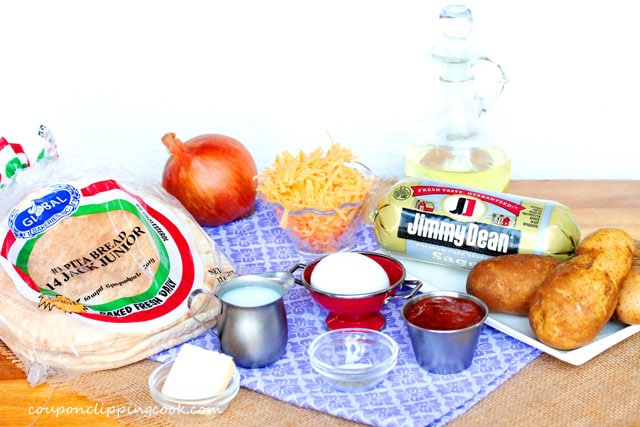 Breakfast Burrito Pitas ingredients