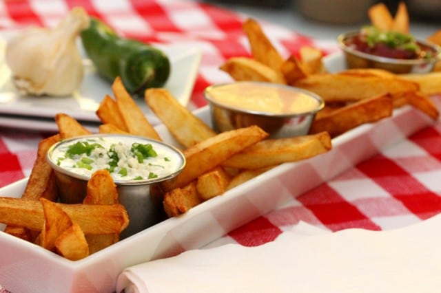 French Fries with Dipping Sauces in dish