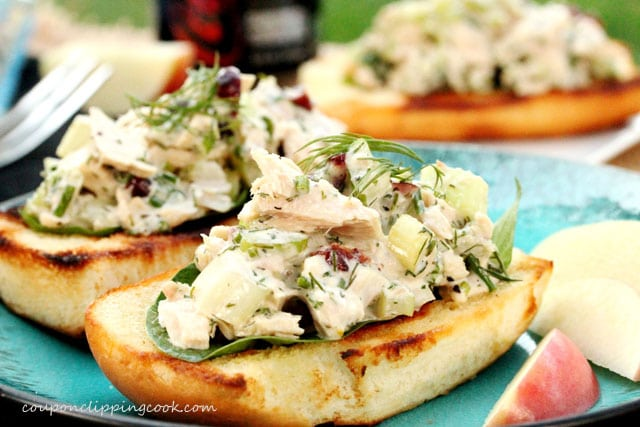 Tuna Salad on Toasted Rolls on plate