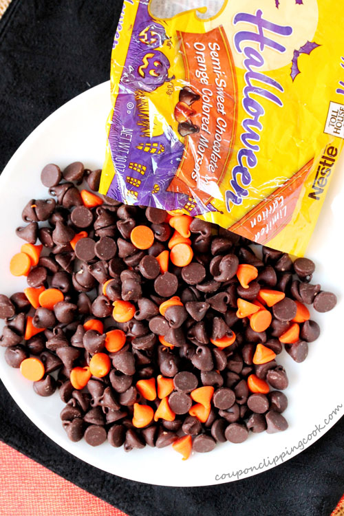 Halloween colored chocolate chips on plate